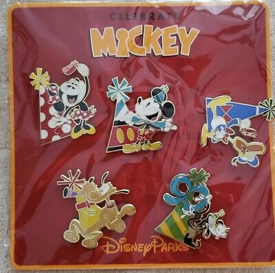Disney Parks Mickey Mouse 90th Birthday Celebration Booster Pin Pack of 5 NIP