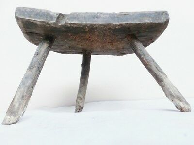 Old Antique Primitive Handmade Wooden Rustic Farmhouse Stool Chair Tripod  #4