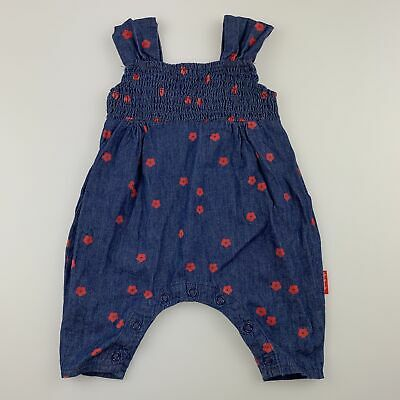 Girls size 000, Rhubarb, lightweight cotton floral overalls / romper, GUC