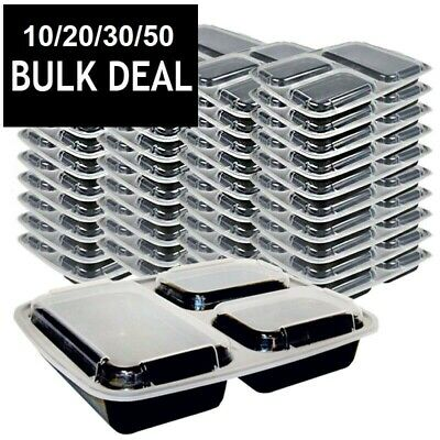 3 Compartment Lunch Box Containers W/ Lids Plastic Microwavable Bento Bulk