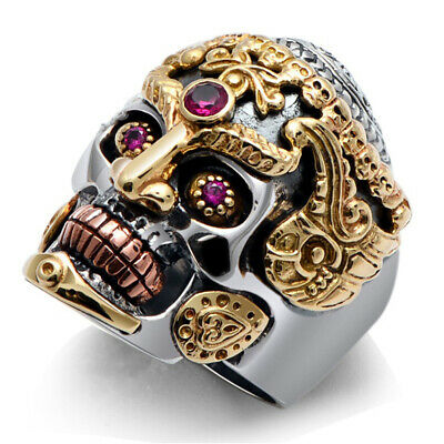 Cool Stainless Steel Gothic Punk Skull Ring Crystal Zircon Eye Biker Men Jewelry