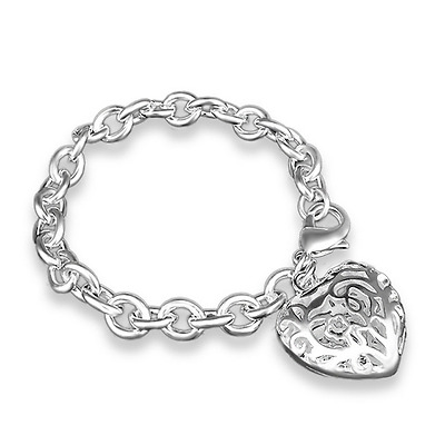 Women Charm Bracelet 925 Silver Plated Hollow Heart Pendant Chain Bangle Fashion