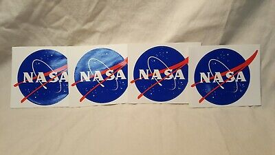 "OFFICIAL NASA LOGO DECALS lot of 4 (MEATBALL)""3.5 (reverse side NASA statements)"