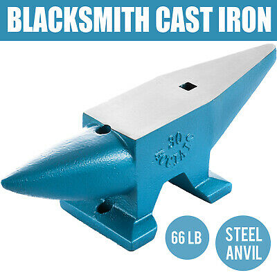 Round Horn 66 LB Blacksmith Cast Steel Anvil Hardy Hole Heavy Duty Grade