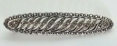 "Beautiful 2"" Vintage Sterling Silver Filigree Marcasite Bar Brooch Pin"
