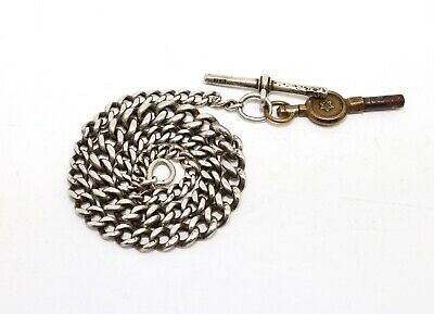 A Nice Antique Victorian Sterling Silver 925 Albert Chain with T-Bar & Watch Key