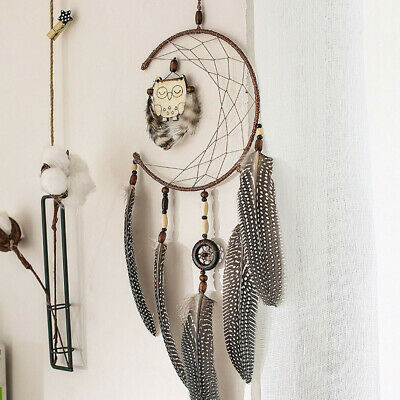 Dream Catcher With Feathers Wooden Owl Wall Hanging Decoration Ornament Gift CA