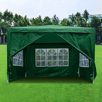 3Mx3M Gazebo Waterproof Windbars Outdoor Marquee Canopy Wedding Party Tent Green