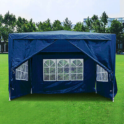 3Mx3M Gazebo Waterproof Marquee Canopy Windbars Garden Wedding Party Tent Blue