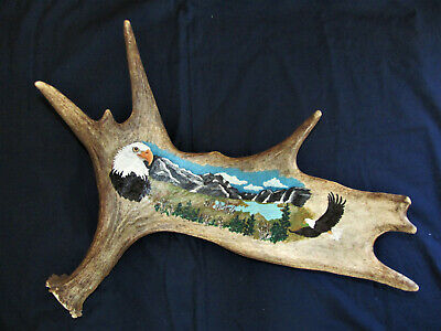 Genuine Hand Painted Moose Antler W/ American Bald Eagles Over Looking The Lake