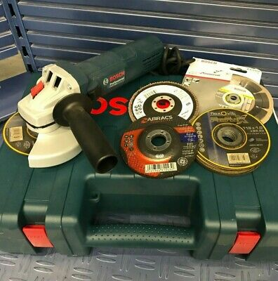 """BOSCH GWS 880 110v Angle grinder 4.1/2"""" (115mm) + various discs + carry case"""