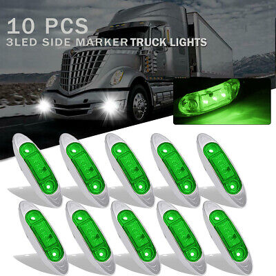 10X Green Lens Trailer Side Marker Clearance Light Oval Chrome 3 LED 12V 24V DC