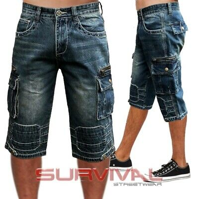 Mens NEW Cargo Denim Walk Shorts Blue Washed Jeans Sizes 28-40 Quality Casual