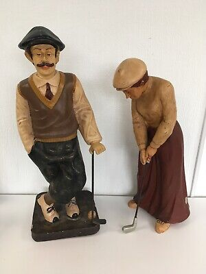 Pair Of 70 cm Large Scale Resin Golf Golfer Figure Figurine Victorian Style