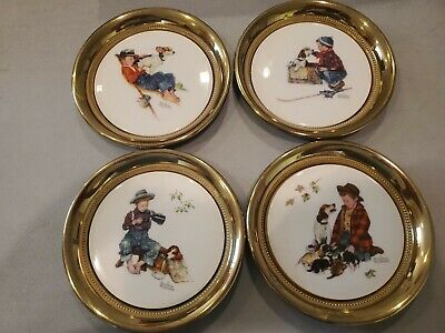 Norman Rockwell Four Seasons  A Boy & His Dog 1971 Gorham China on Brass Plates