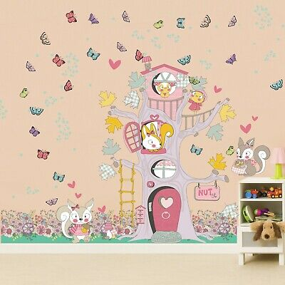 Walplus Rhianne Spring Happy Tree House Wall Sticker Decals Art Home Decorations