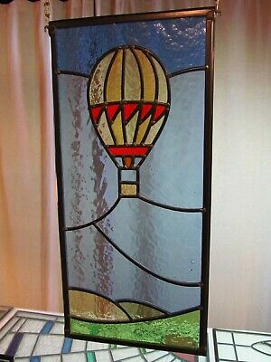 Newly crafted TRADITIONAL Stained Glass Window Panel HOT AIR BALLOON 230x492mm