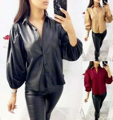 Women Ladies Faux Leather Shirt Bell Cuff Sleeve Button Up Collared Blouse Top