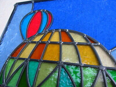 Newly crafted TRADITIONAL Stained Glass Window Panel HOT AIR BALLOONS 356x652mm