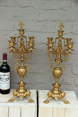 PAIR antique French Spelter gold gilt candelabras candle holder chains lion paws