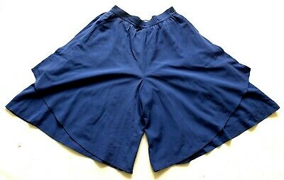 Women's Vintage 80's Wool Blue Wide Leg Layered Culotte Shorts Retro Boho 14