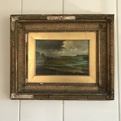 Antique 19th Century Pastoral Landscape Painting with an Fishing in Gilded-gesso