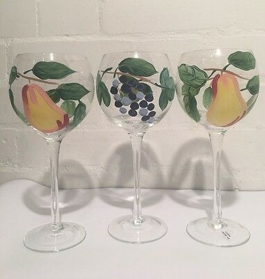 Three Large and Beautiful Hand Painted Highly Decorative Wine Glasses