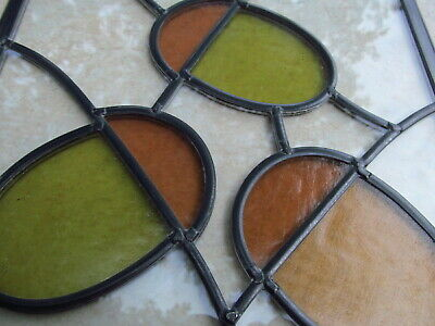 Newly crafted TRADITIONAL Stained Glass Window Panel ACORNS 245mm by 258mm