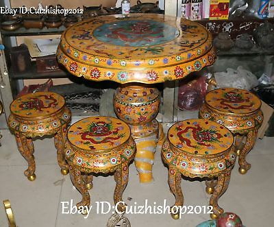 "33"" Rare China Cloisonne Enamel Gilt 9 Dragon Loong Table Desk 4 Chair Stool Set"