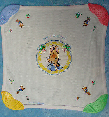 Beatrix Potter Peter Rabbit Baby Teething Blanket White Cotton Teether