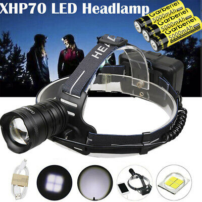 500000 Lumens Zoomable XHP70 LED USB Rechargeable Headlamp Torch Super Bright US