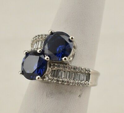 SJ Signed Sterling Silver Synthetic Iolite and CZ Gem Stone Ring - Size 6.25