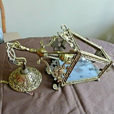 Vintage Hollywood Regency Filigree Gold Swag Hanging LIGHT FIXTURE Brass **