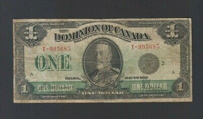 1923 $1 One Dollar Dominion of Canada Banknote Black Seal