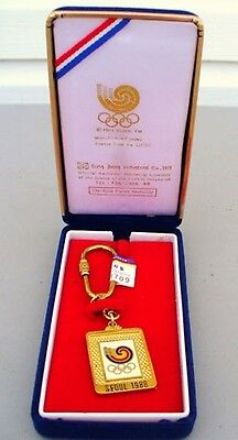 1988 Olympic Games Seoul Official Sung Bang Co Keychain with Seoul Logo 24K Gold