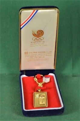 1988 Olympic Games Seoul Official Sung Bang Co Keychain & Olympic Logo 24K Gold2