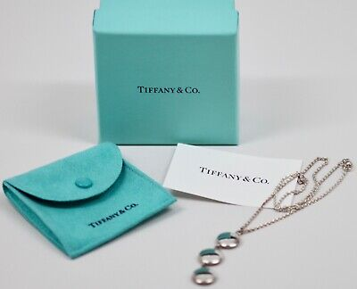 """Vintage TIFFANY & CO  Triple Drop Circle Disc Necklace 16"""" Sterling Silver 925"""