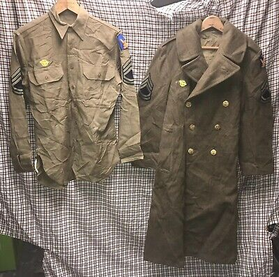 Vtg 1940 WW2 US Army 2nd Air Corps Wool Trench Over Coat Shirt Ruptured Duck Lot