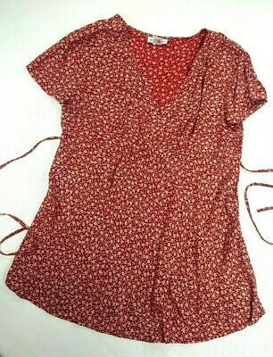 Motherhood Maternity Size L Short Sleeve Top Blouse,Red White Floral