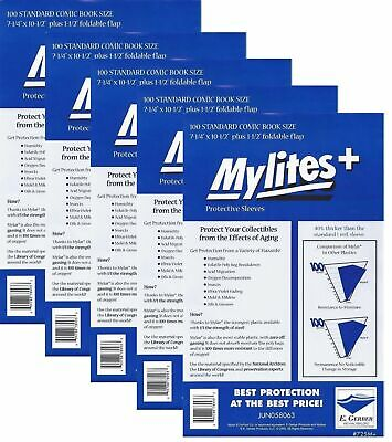500 Mylites+ STANDARD SIZE  1.4-mil Mylar Comic Bag Sleeves 725M+ by E. Gerber