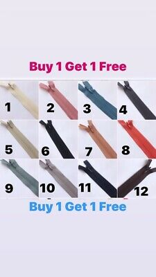 """BUY 1  GET 1 FREE """"Concealed Invisible Zips 8'' to 20 '' 20 cm to 50 c 1ST CLASS"""