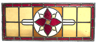 Vintage Leaded Stained Glass Window Panel