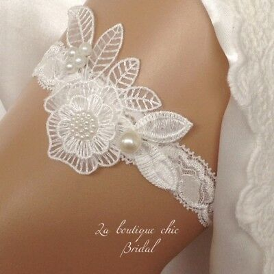 XS S M L XL Ivory and Pearl & Lace Bridal Wedding Garter, Bride, gift hen