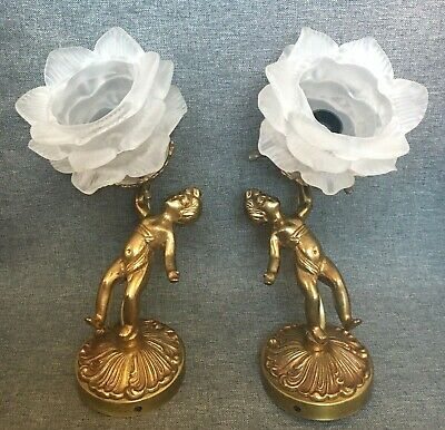 Vintage pair of sconces lamps brass glass 1970's France angels religious