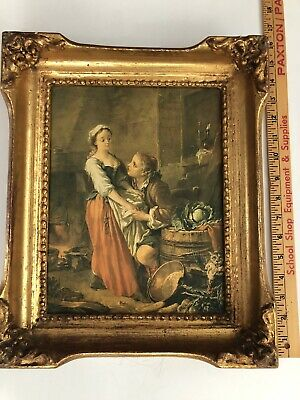 """Vintage Painting 15.5 X 12"""" Gold Wood Frame European Man & Maiden Print On Fabr"""