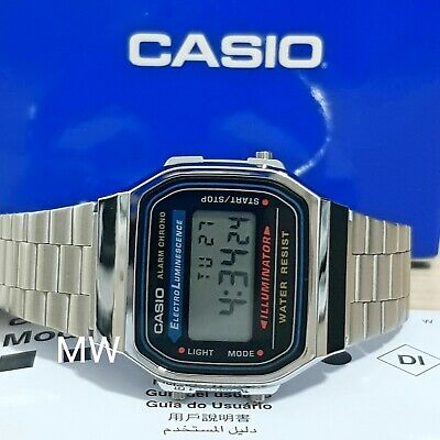 New Casio Alarm Unisex Men's Ladies Silver Digital Watch Blue Light A-168WA-1U