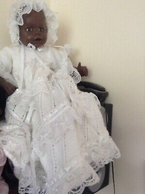 White Knitted Christening Gown And Bonnet Dk Wool