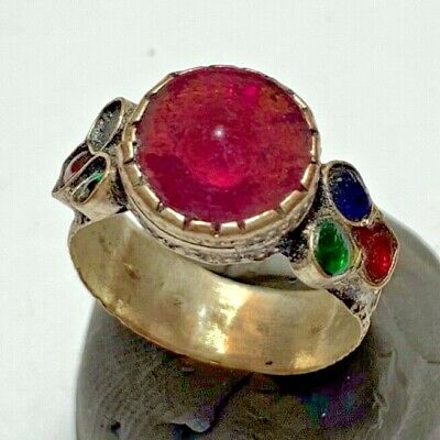 LATE MEDIEVAL SILVERED RING WITH RARE 7 STONES 3.6gr 26.9mm (inner 20.1mm)