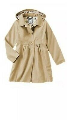 New GYMBOREE Trench Coat Hooded Size S 5-6 Girls Bts Fall Fun Holidays Basic