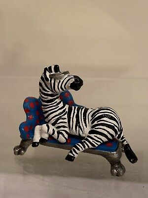"""""""Pewter Image"""" Hand Painted Pewter Zebra on Couch wearing Sunglasses Very Cute"""
